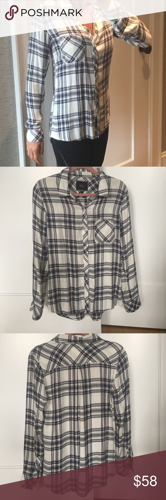 Rails plaid long sleeve button down shirt Women's blue and white plaid long sleeve button down shirt. Made for a loose fit. 100% Rayon, so no wrinkles!  Very good condition. Rails Tops Button Down Shirts