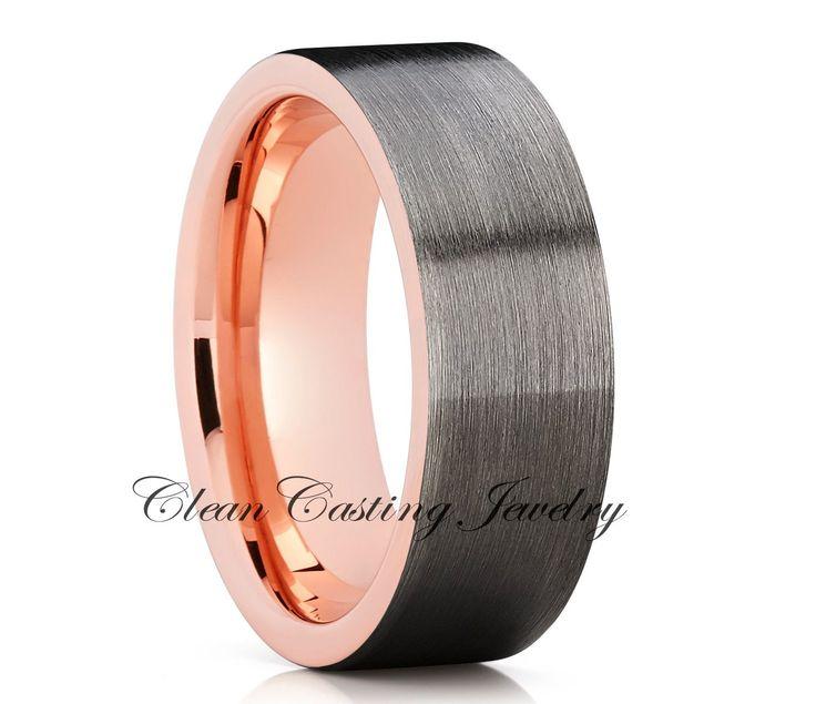 Unique Gunmetal Tungsten Wedding Band, Rose Gold Tungsten Ring, Men's Tungsten Ring, Annviersary Band, Engagement Ring, Comfort Fit, 18k Rose Gold
