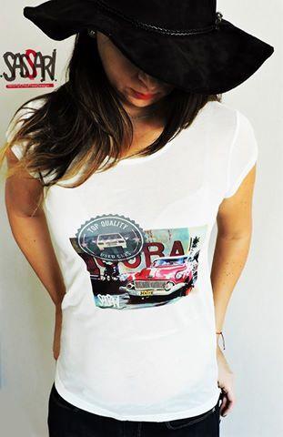 Polera Manga Corta Diseño estampado Retro Car Cuba Diseño Exclusivo. Valor:$12.900