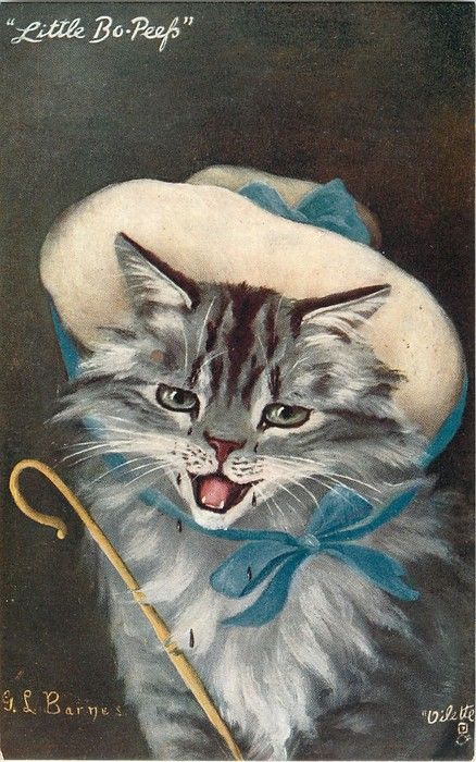 Cats in Illustration: Vintage postcard (ill. by G.L. Barnes) - 1905