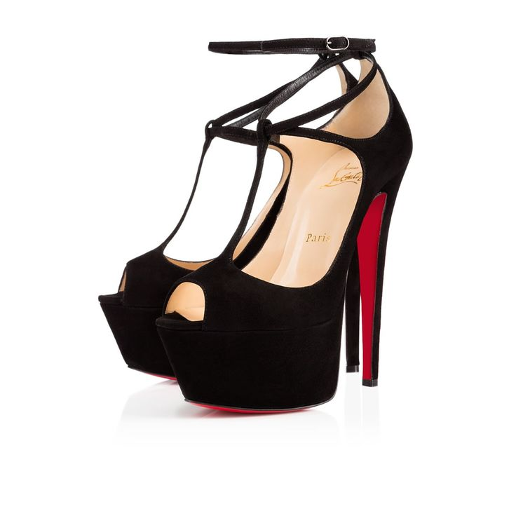 chris louis vuitton shoes - christian louboutin suede t-strap peep-toe pumps, louboutin imitation