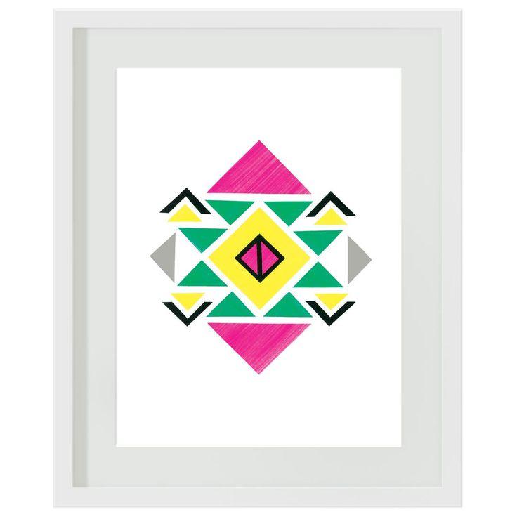 Aztec: #girls #aztec #pink #green #yellow #bedroom #tween #wallart #artprint
