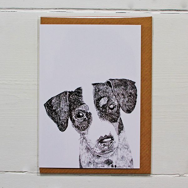 Beautifully designed greetings card by Ros Shiers, featuring Ziggy The Jack Russell.