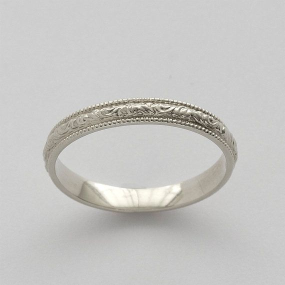 Vintage Engraved Scrolls Wedding Band. simple