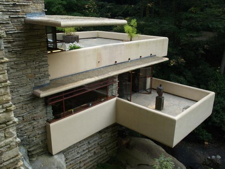 Fallingwater pictures: terraces (Frank Lloyd Wright house above ...
