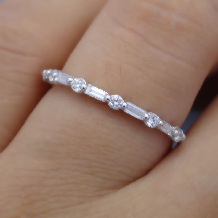 Full Cut Round and Baguette Diamond Band by MRoseDesign on Etsy https://www.etsy.com/listing/188295134/full-cut-round-and-baguette-diamond-band