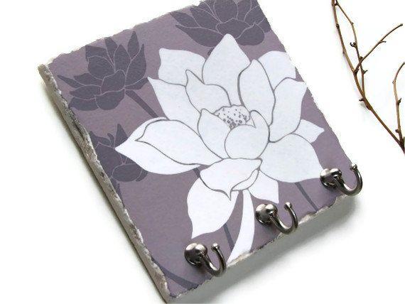 Lotus Flower Art Key Hook Purple Wall Tile by NaturesHeavenlyArt, $27.00