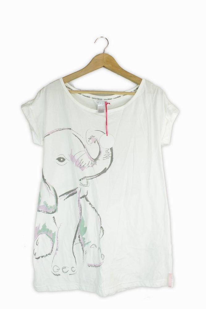 8dd2313be AVON white elephant motif pattern top size 10 -12 - Brand New with Tags