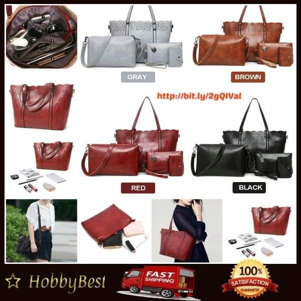 Fashion women PU Leather Set 4 Pieces Handbag Crossbody Bag Card Holder Wallet  Fashion women PU Leather Set 4 Pieces Handbag Crossbody Bag Card Holder Wallet  Details:  Material PU Leather  Color Black,Gray,Red,Brown  Weight 800g  Length 26CM(...