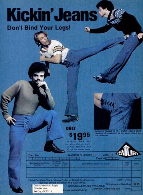 This is how Tae Kwon Do pants and dance pants are made... they need to bring this back!! lol ~ Outrageous Fashion Ads From The 1970s