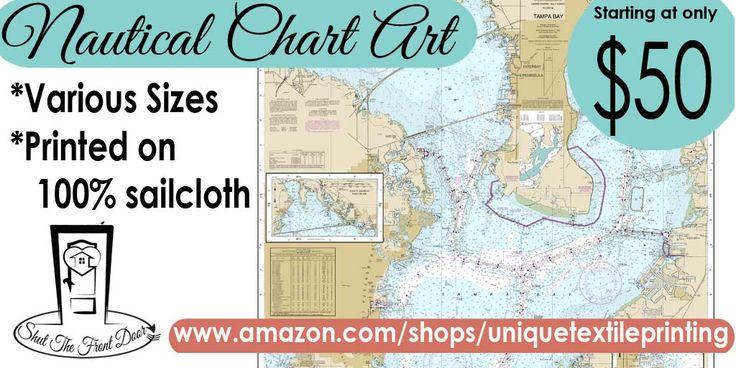 Nautical chart sailcloth prints! Variety. Large selection to choose from. Sailing. Sailboat. Authentic sailcloth. Starting at $50.