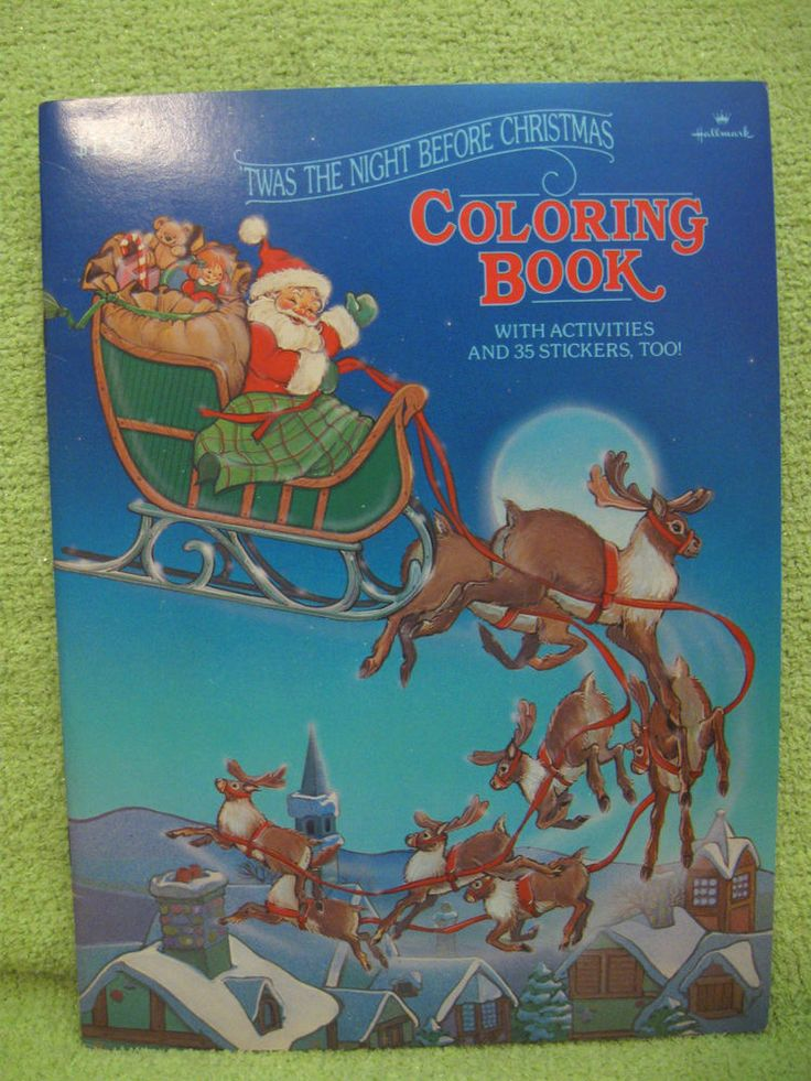 TWAS THE NIGHT BEFORE CHRISTMAS 1983 Coloring Book STICKERS HALLMARK Santa VTG