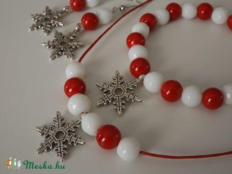 """""""Skandináv karácsony"""" szett, jáde,karkötő, nyaklánc, fülbevaló, nőnek, lánynak, ajándék, meska, gyógyhatás, Ékszer, óra, Karácsonyi, adventi apróságok, Fülbevaló, Karkötő, Meska"""
