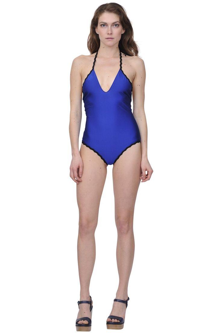 Jean Paul Gaultier soleil- Contrast trim onepiece swimsuit www.suite123.it