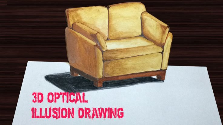 Drawing: sofa - How to draw 3D Art - YouTube