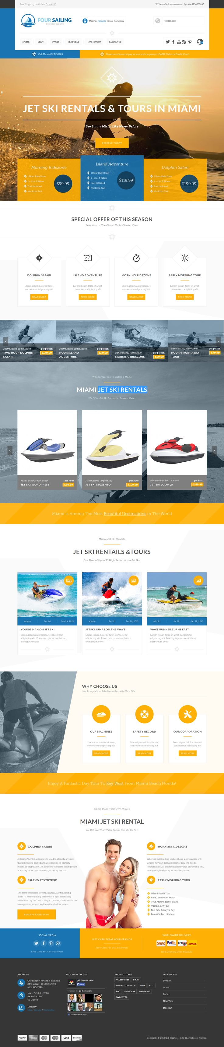456Sailing is a WooCommerce theme, built on Bootstrap grid system for eCommerce, corporate websites. #Jet #ski #rent #website