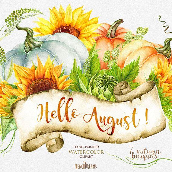 Pumpkin & Sunflower Watercolor clipart, Golden Autumn, Halloween, digital…