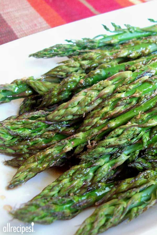 "Baked Asparagus with Balsamic Butter Sauce | ""This is the best way to cook asparagus! It's the ONLY way I cook asparagus anymore. Even my two year old loves this recipe!"""