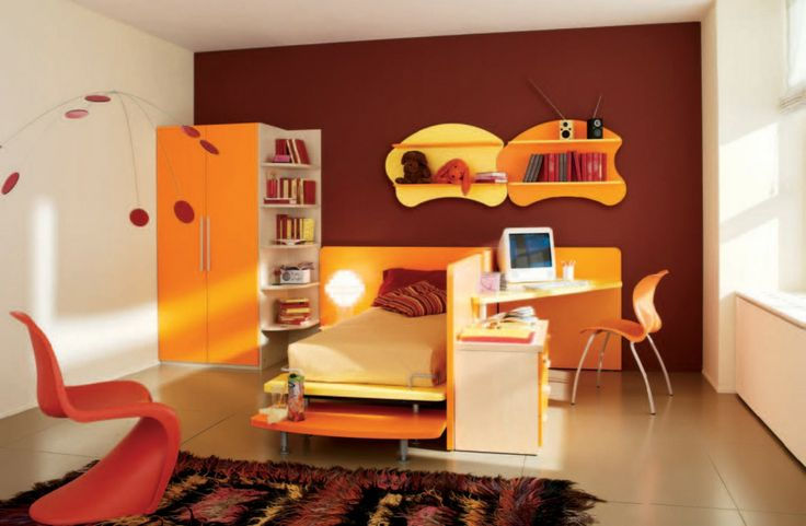 Teens Room: Appealing Orange Boys Themed Bedroom Feats Orange And Yellow Platform Bed Adjascent With Cool Orange Study Desk And Curvy Yellow...