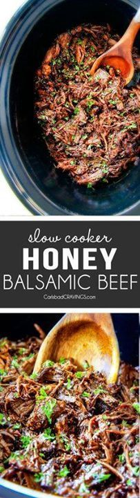 I am obsessed with t I am obsessed with this sweet and tangy...  I am obsessed with t I am obsessed with this sweet and tangy savory Slow Cooker Honey Balsamic Beef!!! Its fall apart tender crazy juicy packed with flavor and smothered in the most AMAZING honey balsamic sauce! perfect for sandwiches or stand alone delicious with rice and potatoes! Recipe : http://ift.tt/1hGiZgA And @ItsNutella  http://ift.tt/2v8iUYW