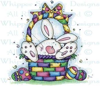 Easter Bunny in Basket - Easter - Holidays - Rubber Stamps - Shop