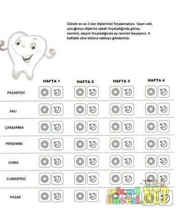 okul öncesi diş fırçalama takip çizelgesi ile ilgili görsel sonucu