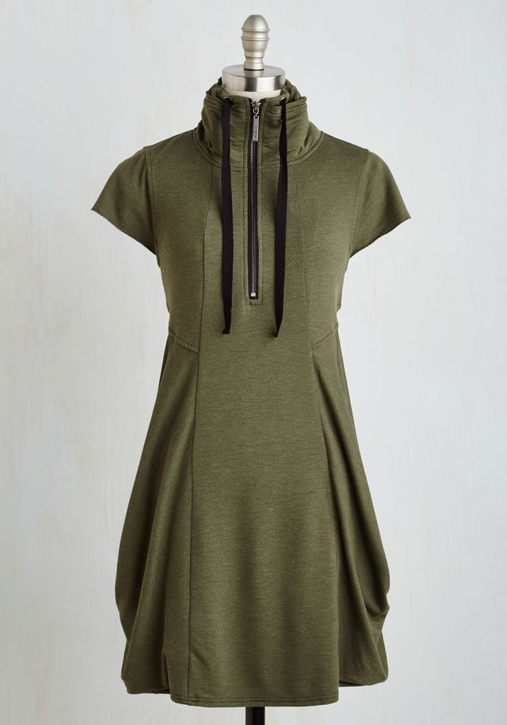 Fresh Flow Dress in Olive. Discover a fresh take on casual sophistication in this heathered-olive frock by Kensie. #green #modcloth