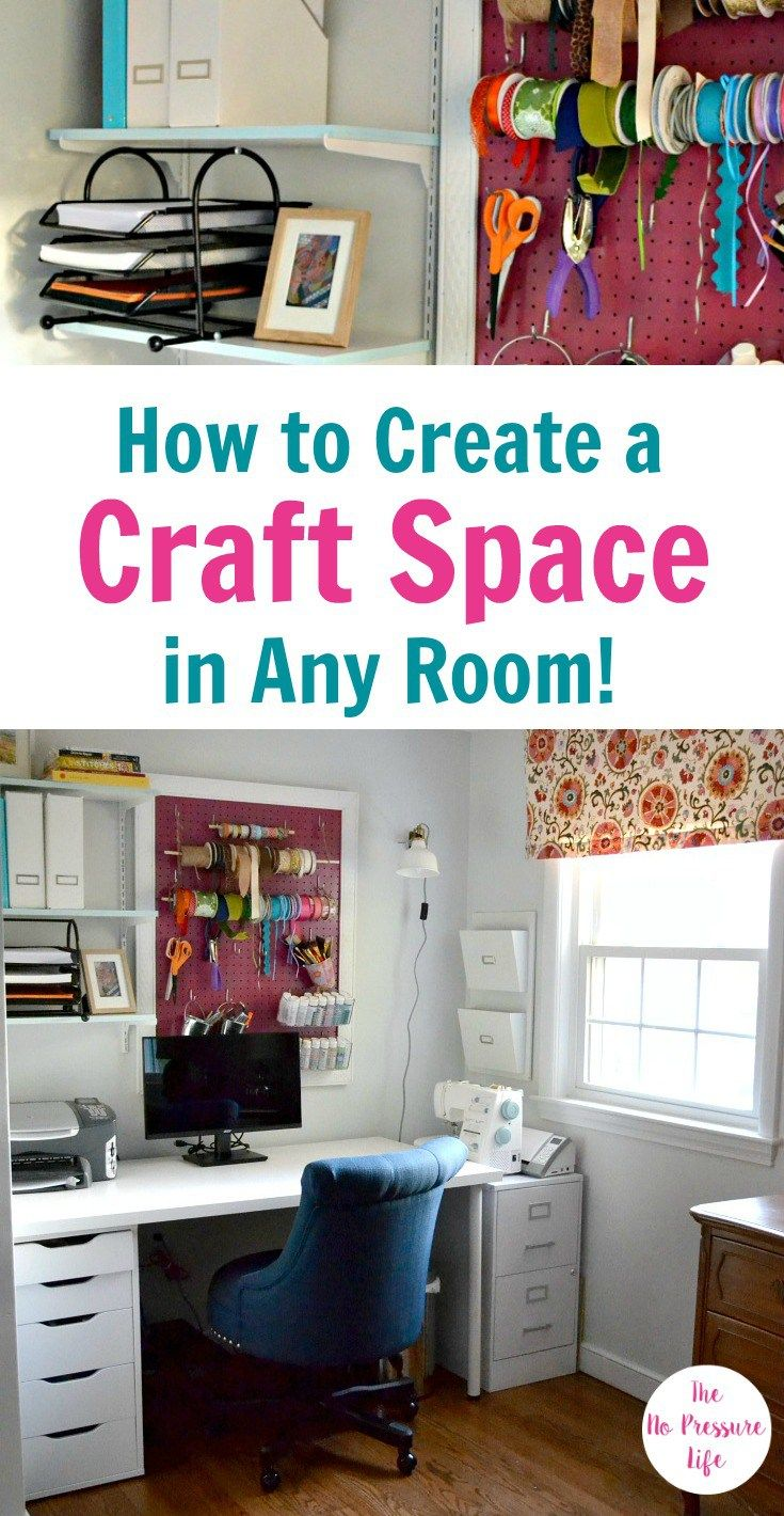 Don't have space for a whole craft room? This makeover shows you how to create a craft area in any room in your home - even if you only have a small space! You've got to check out the decorating and organizing ideas in this craft room makeover.