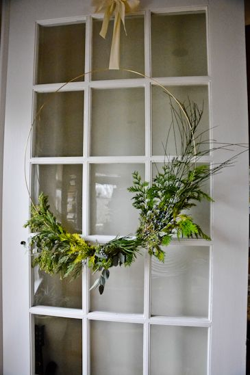 scaling back - homemade wreath with a macrame ring and foraged greenery.