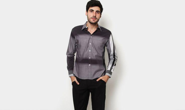 Camisa con Estampado de franjas Gris oscuro OMAN