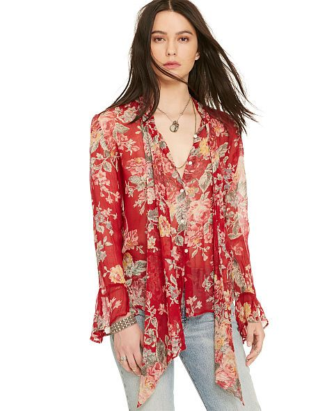 In airy gauze with a vibrant floral print, this Denim & Supply Ralph Lauren  tie-neck top's bohemian-inspired style meets flirty, feminine ruffled cuffs  that ...
