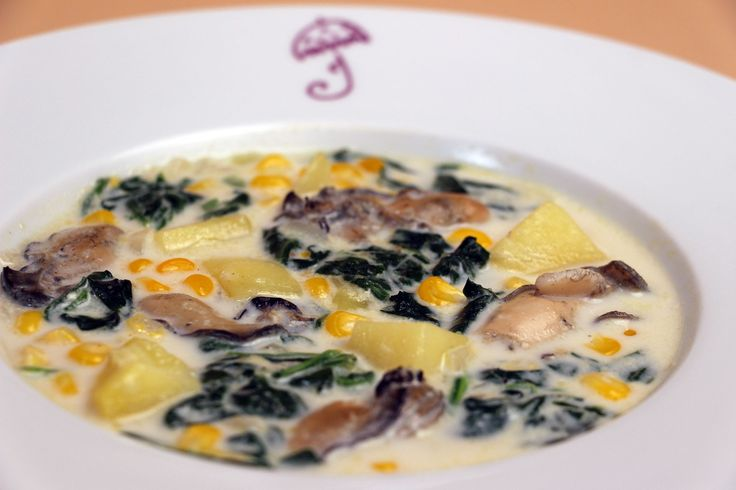 With a great tip on how to open oysters quickly, try this classic Oyster Chowder with Potatoes, Spinach, and Corn recipe as cooked by Jacques Pepin on new series 'Heart and Soul', airing on PBS nationwide from fall 2015 #JPHeartandSoul