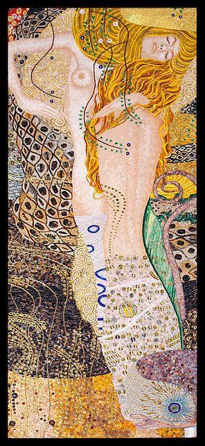 BellaVetro mosaic tile art Klimt water nymphs Austria Germany WWII art Lady in Gold
