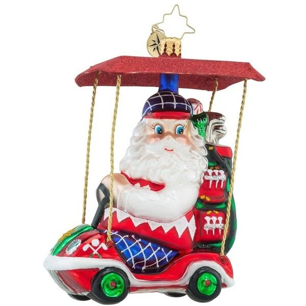 Christopher Radko 'senior Tour' Santa Ornament (160 BRL) ❤ liked on Polyvore featuring home, home decor, holiday decorations, holiday ornament, hand made ornaments, glass holiday ornaments and glass santa ornament