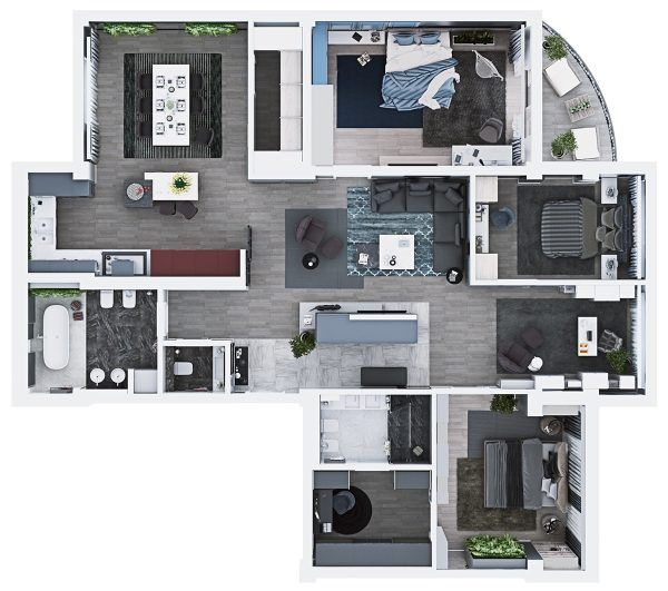 Luxury 3 bedroom apartment design under 2000 square feet includes 3d floor plan