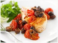 Pan fried chicken with cherry tomatoes