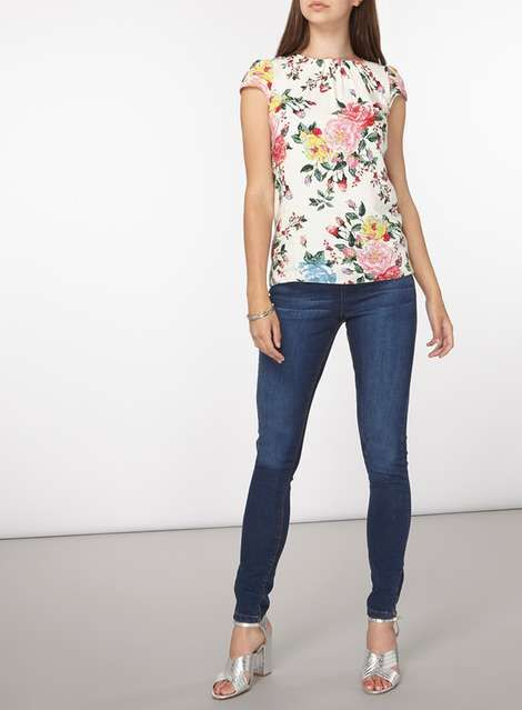 **Billie & Blossom Tall Ivory Floral Shell Top - View All Clothing - Clothing - Dorothy Perkins