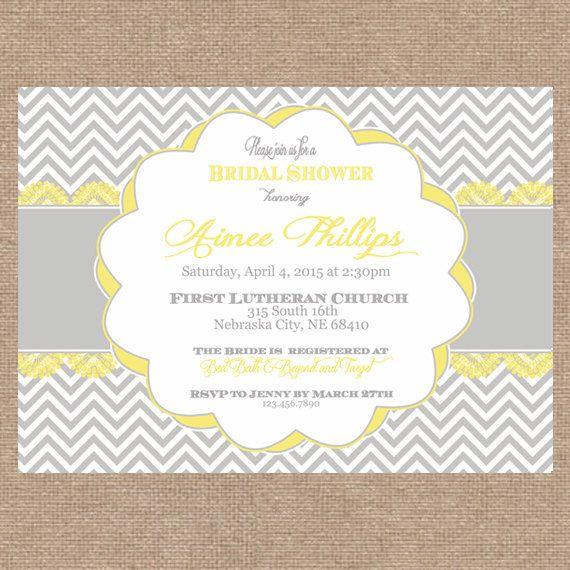 Lemon Yellow Gray Chevron Bridal Shower Invitation  Spring