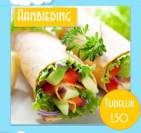 De wraps zijn gevuld met sla, komkommer, tomaat, rode ui, guacamole en gedresseerd met heerlijke zoete ketchup.  Kijk voor meer informatie op 1149423letter.wix.com/veggie-spot