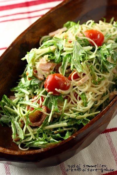 """3行レシピ♪「水菜とハムのパスタサラダ """"和風胡麻マヨ味""""」子供も ..."""