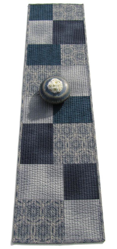 "https://flic.kr/p/dtKWVc | Patchwork Table Runner | 44"" x 11.5"" Fabric: Kasuri by Moda, made in Japan"