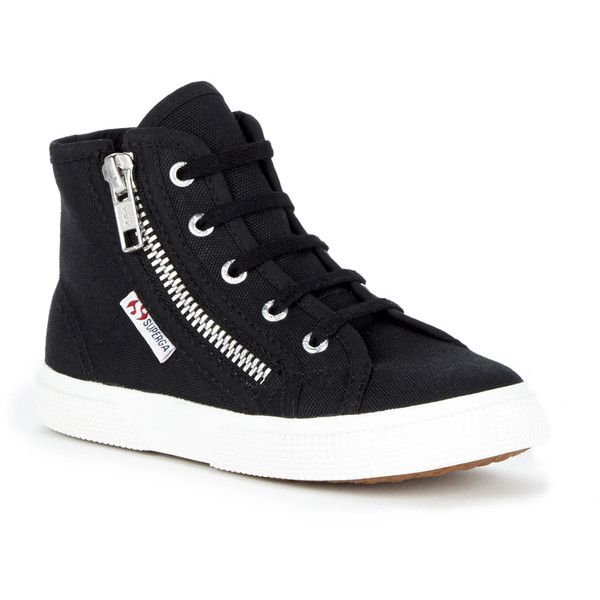 Superga 2224 Cotdj High Top Sneaker ($69) ❤ liked on Polyvore featuring shoes, sneakers, black, black hi top sneakers, black sneakers, black trainers, high top canvas shoes and superga sneakers