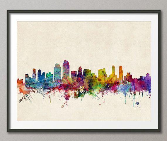 San Diego California Skyline, Art Print - 12x16 up to 24x36 inch (738) on Etsy, $24.57 CAD