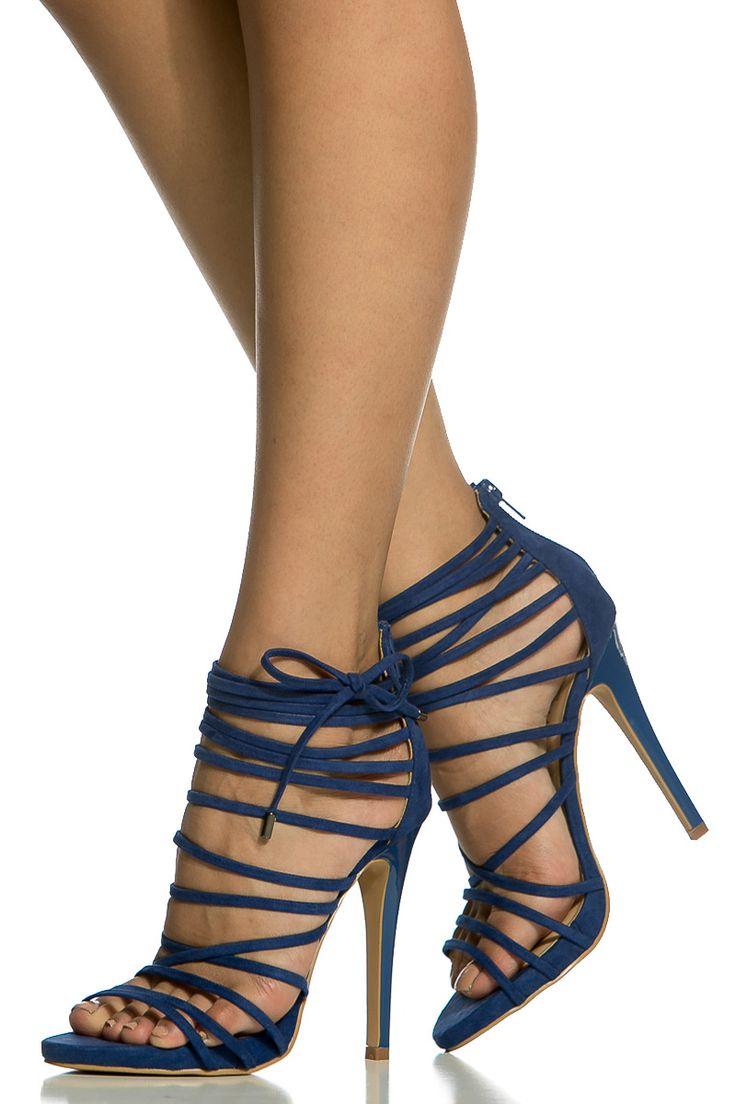 Blue Faux Suede Strappy Open Toe Single Sole Heels