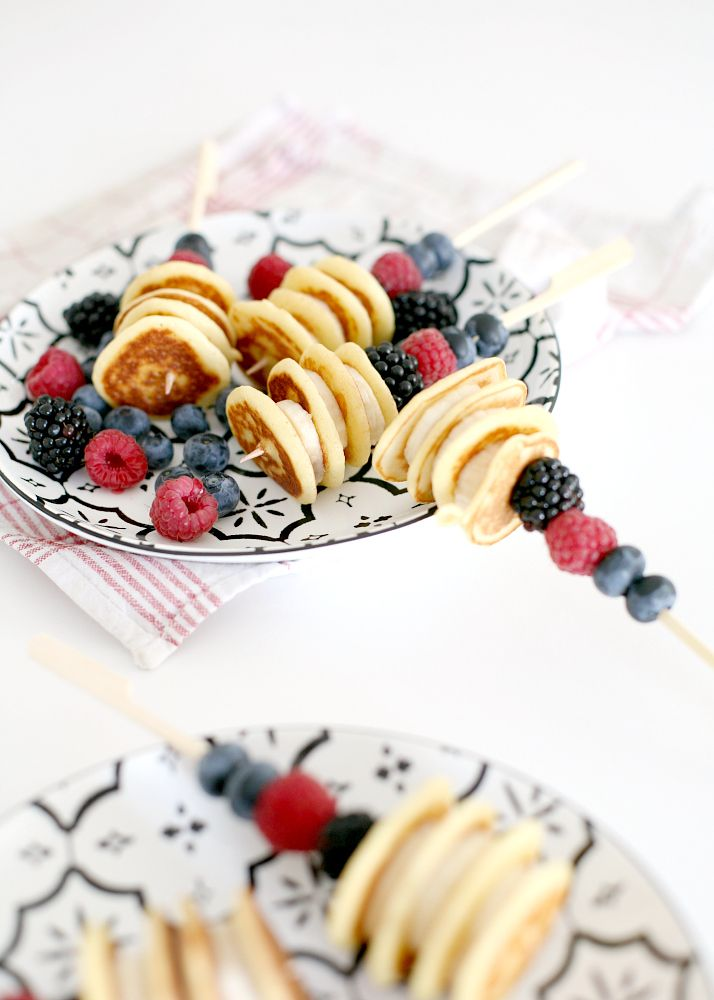 Pancake Party Sticks - Recipe | Love Daily Dose So cute!! What a clever idea for a brunch