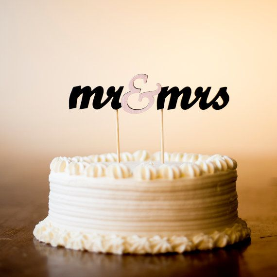 Mr and Mrs cake topper.