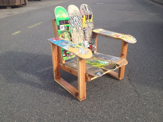 Recycled Skateboard Chair - simple frame with only eight decks.