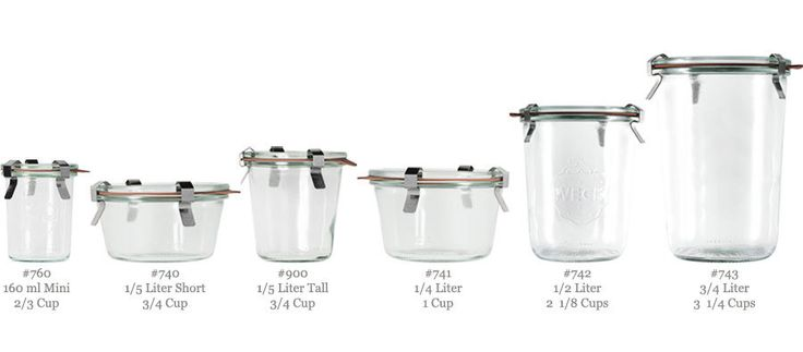 Weck Canning Jars (Straight) 6- or 12-pack of thick sided, elegant, all-glass jars. Six sizes. Made in Germany. All replacement pieces are a...