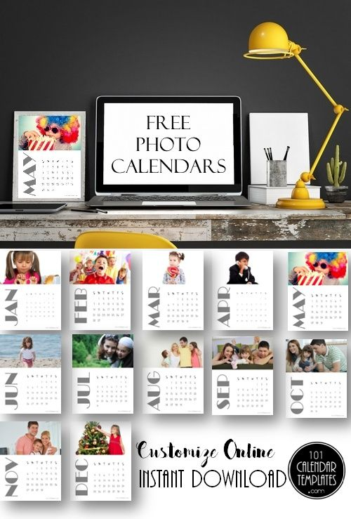 Free printable photo calendars. Instant download. Customize online with the free calendar maker.