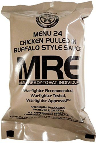 MRE (Meals Ready-to-Eat) Genuine US Military Surplus any flavors. Also available at local surplus shops.